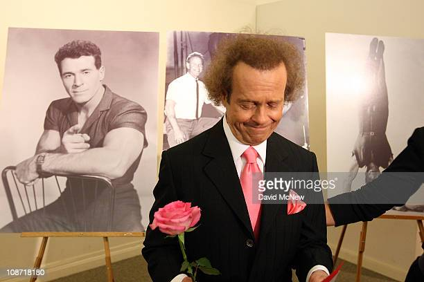 Fitness guru Richard Simmons is seen near photos of the first television fitness guru Jack LaLanne before the start of the funeral service for Jack...