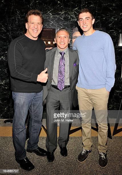 Fitness guru to the stars Jake Steinfeld former WBA lightweight boxing champion Ray Boom Boom Mancini and Nick Steinfeld attend the screening of The...