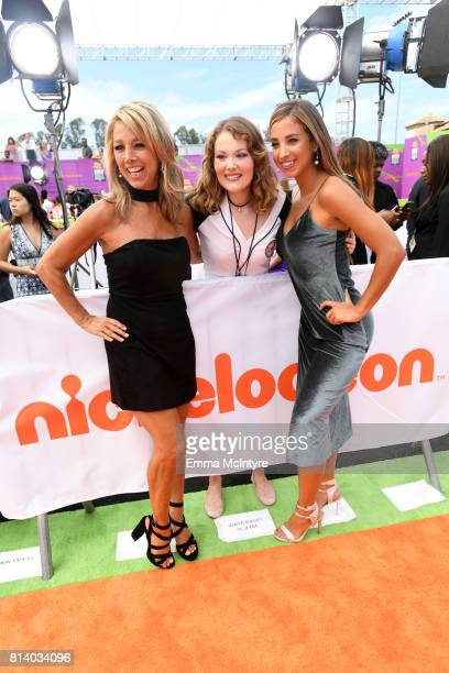 Fitness instructor Denise Austin and Katie Austin pose with a fan at Nickelodeon Kids' Choice Sports Awards 2017 at Pauley Pavilion on July 13 2017...