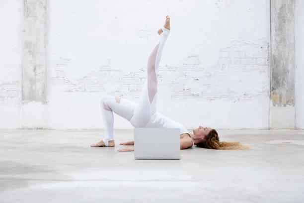 Fitness instructor in online training class