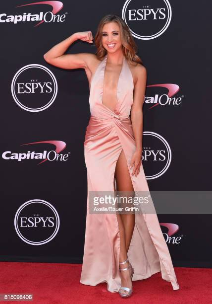 Fitness instructor Katie Austin arrives at the 2017 ESPYS at Microsoft Theater on July 12 2017 in Los Angeles California