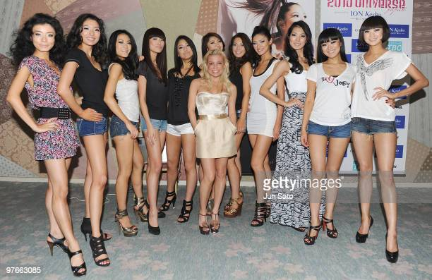Fitness instructor Tracy Anderson and the finalist pose for a photograph at backstage during 2010 Miss Universe Japan final competition at Grand...