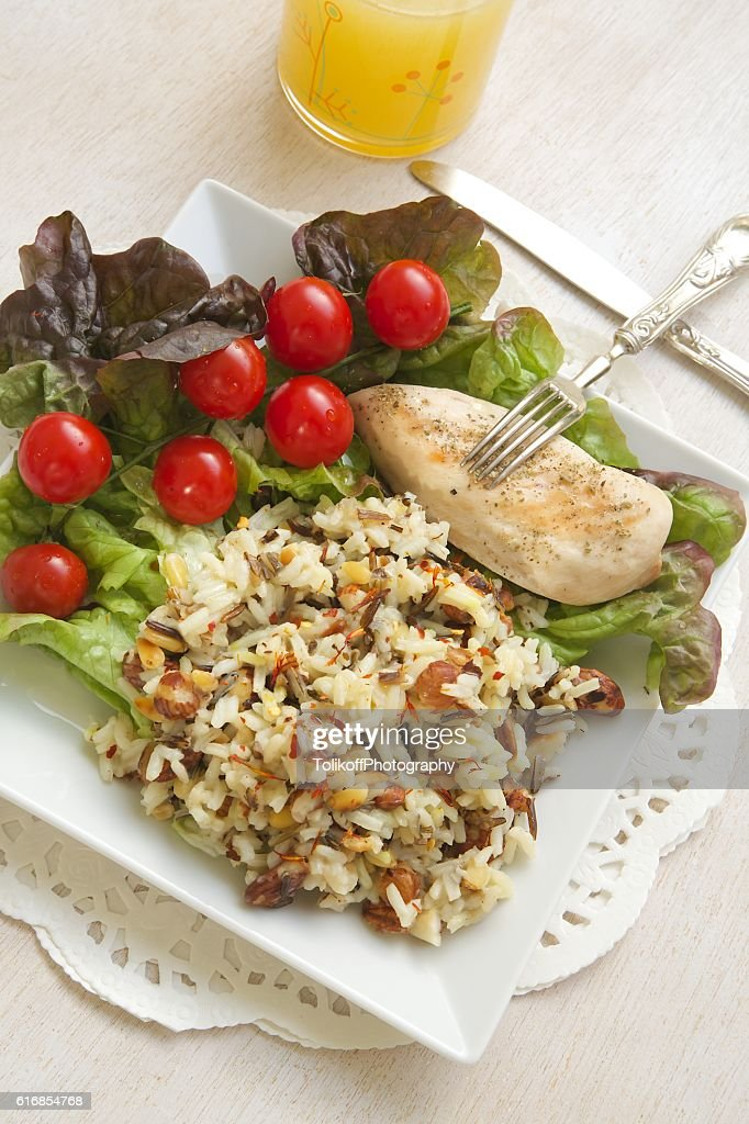 Fitness lunch with a glass of fresh lemon juice : Stock Photo