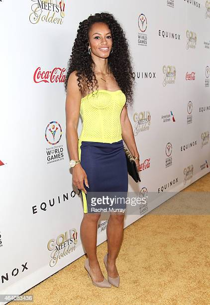 Fitness model Mandy White attends CW3PR presents Gold Meets Golden at Equinox Sports Club on February 21 2015 in Los Angeles California