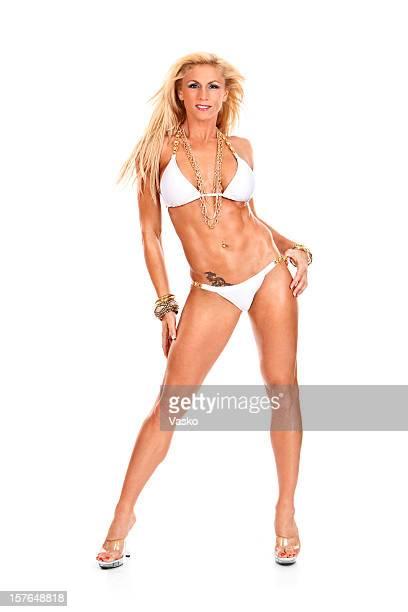 modèle de remise en forme - blonde forte poitrine photos et images de collection