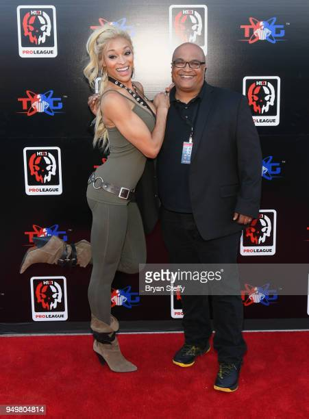 Fitness model/author Alicia Marie and Facebook Global Director Games Partnerships Leo Olebe attend opening weekend of the Twin Galaxies H1Z1 Pro...