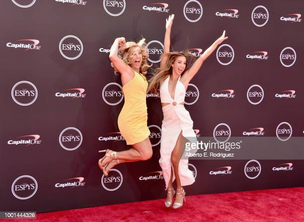 Fitness personality Denise Austin and daugher Katie Austin attend The 2018 ESPYS at Microsoft Theater on July 18 2018 in Los Angeles California