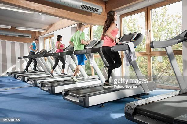 Fitness studio group sport treadmill men women