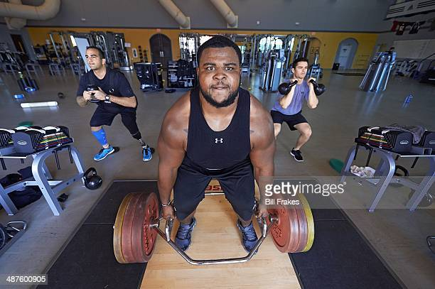 The Eagle Fund Portrait of Baltimore Ravens defensive tackle Brandon Williams during workout with Army Staff Sergeant George Perez at Exos Athletes'...