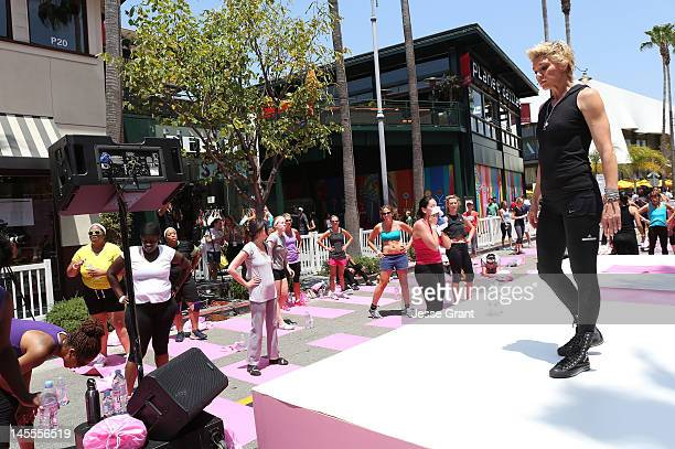 Fitness trainer Jackie Warner attends the evian® Presents Live Young® Get Fit With Jackie Warner event at Gilmore Lane at the Grove on June 1 2012 in...