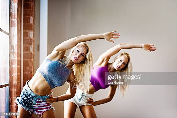 Fitness Twins Exercising