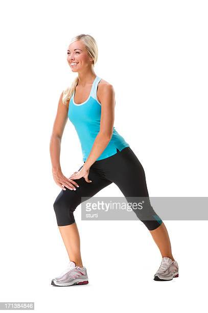 fitness woman - warm up exercise stock pictures, royalty-free photos & images