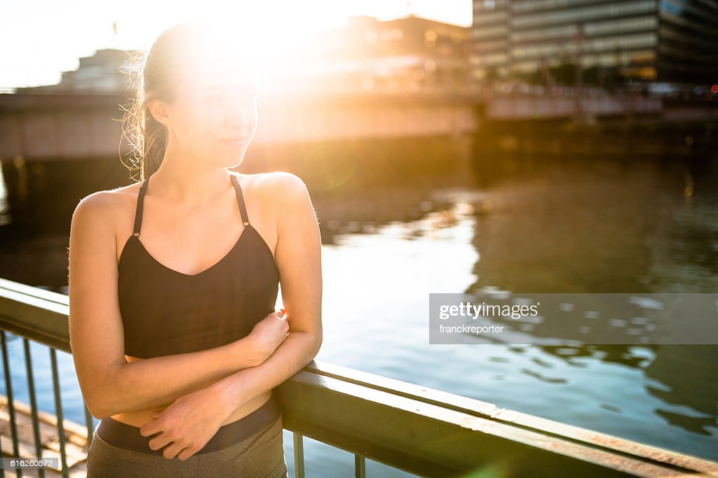 fitness woman relaxing after the fitness : Stock Photo
