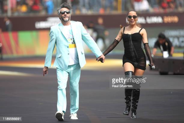 Fito Paez and Anitta perform during the pregame show prior to final match of Copa CONMEBOL Libertadores 2019 between Flamengo and River Plate at...