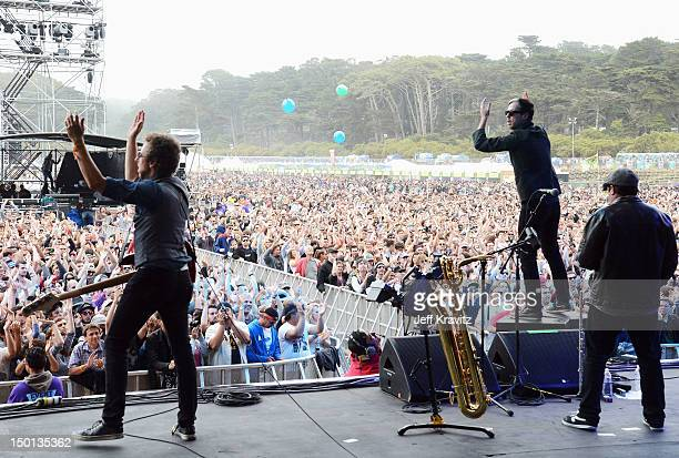 Fitz and The Tantrums performs at the Lands End Stage during day 1 of the 2012 Outside Lands Music and Arts Festival at Golden Gate Park on August 10...