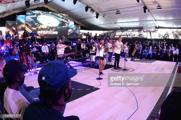 Fitz and the Tantrums performs during the LA Clippers ground breaking on Intuit Dome on September 17, 2021 in Inglewood, California. NOTE TO USER:...