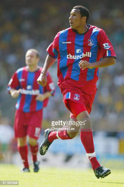 Fitz Hall of Crystal Palace in action during the Barclays Premiership match between Norwich City and Crystal Palace at Carrow Road Stadium on August...