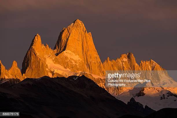 Fitz Roy Mountain Range at sunrise, El Chalten,  Los Glaciares National Park,  Santa Cruz Province, Argentina
