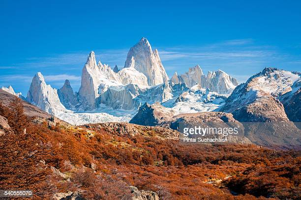 fitz roy peak surrounded by autumn colors - patagonia foto e immagini stock