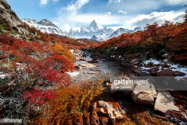 fitz roy - 氷河湖 ストックフォトと画像