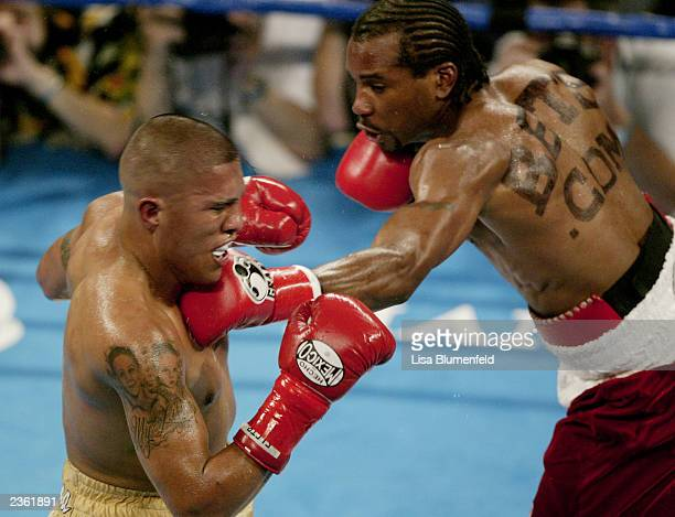 Fitz Vanderpool connects with Fernando Vargas on July 26 2003 at the Olympic Auditorium in Los Angeles California Fernando Vargas won by TKO in the...