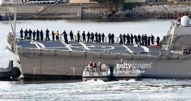 USS Fitzgerald arrives at Yokosuka Port after a collision with container ship off Shimoda on June 17 2017 in Yokosuka Kanagawa Japan Seven US Navy...
