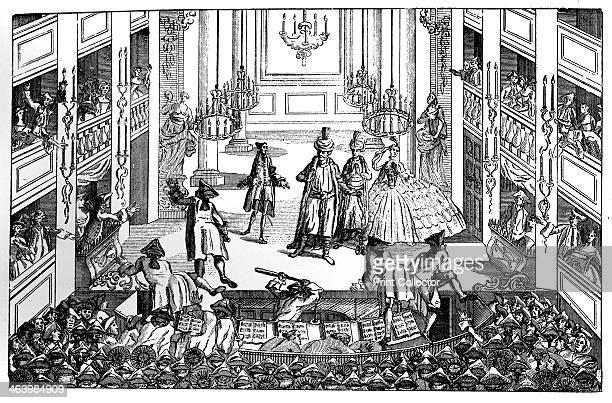 'FitzGiggo A New English Uproar' 1763 Some excited members of the audience are invading the stage Illustration from Social Caricature in the...