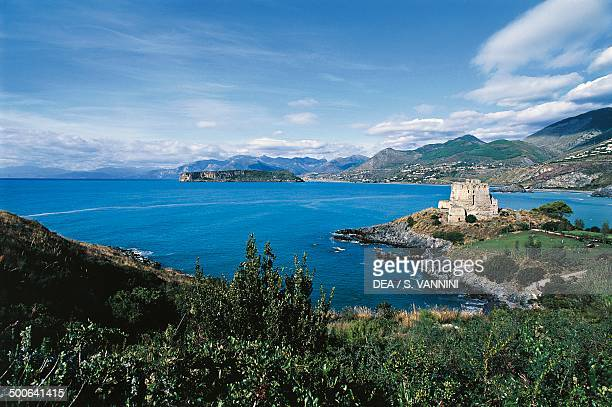 Fiuzzi Tower island of Dino and the gulf of Praia a Mare seen from San Nicola Arcella Calabria Italy