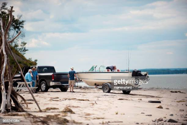 five active seniors brothers on a fishing trip - trailer stock pictures, royalty-free photos & images