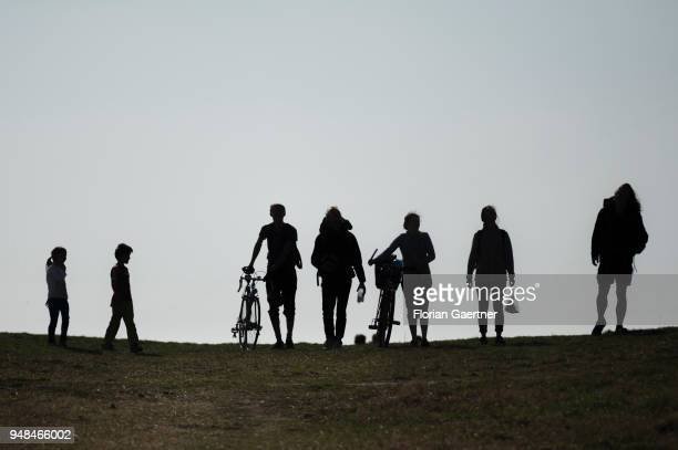 Five adults and two children on a walk on the Drachenberg in Berlin on April 08 2018 in Berlin Germany The Teufelsberg or Drachenberg is a hill...