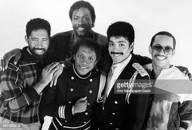 Five AfricanAmerican men members of the singing group The Commodores 1975