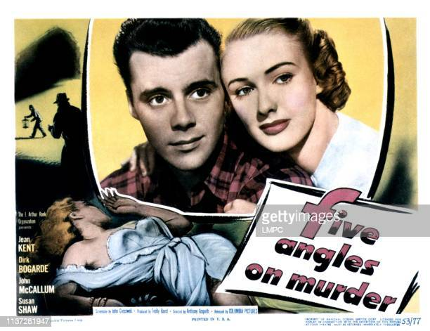 Five Angles On Murder lobbycard from left Dirk Bogarde Susan Shaw 1950