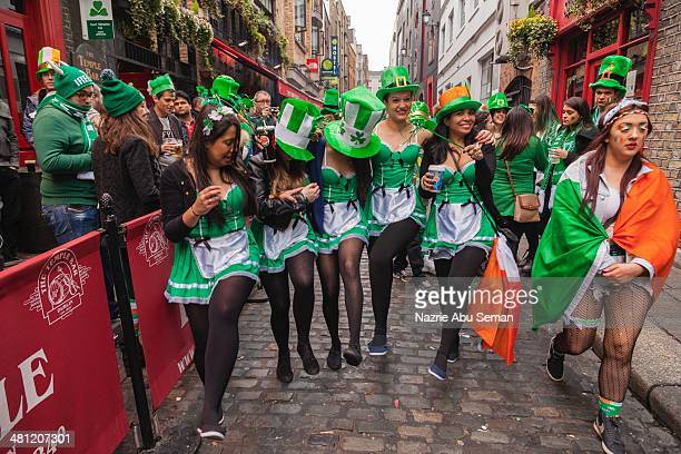 Five Brazilian girls dancing at Temple Bar after the parade in Dublin Ireland