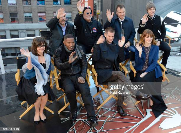 AMERICA Five cast members of The Amazing SpiderMan 2 Andrew Garfield Emma Stone Jamie Foxx Dane DeHaan and Sally Field along with the director and...