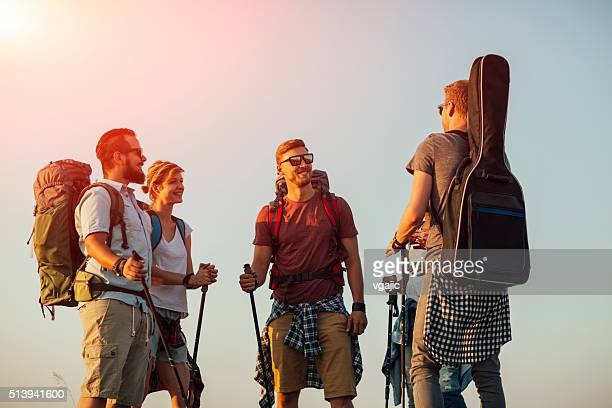 Five Cheerful Fiends Hiking In Nature