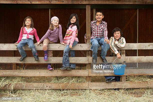 five children (6-12) on wooden fence beside pasture, portrait - cinco personas fotografías e imágenes de stock