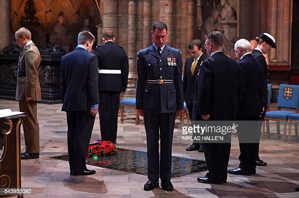 Five civilians and five members of the military form The First Watch undertaking a Vigil at Grave of the Unknown Warrior after the Service on the Eve...