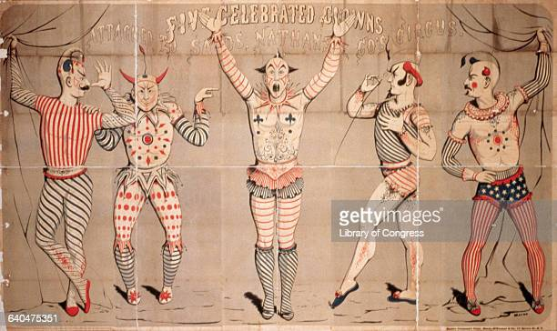 Five clowns are featured on a Sands Nathan Co circus poster