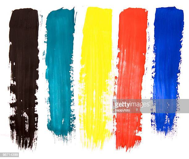 Five colorful paint brush steaks on a white background