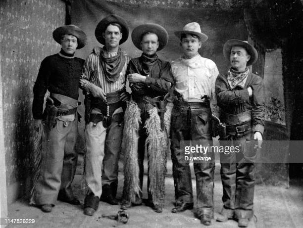 Five Cowboys. 1900-1910 All Have Holstered Pistols, Great Early Cowboy Hats, Wearing Wooly, Batwing & Fringe Chaps. ' Left To Right Bo Mills, #3Lewis...