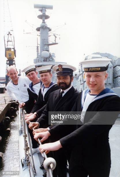 Five crew member of the HMS Jupiter looking forward to shore leave in their home port as their ship steams up the Tees The Leander class frigate...