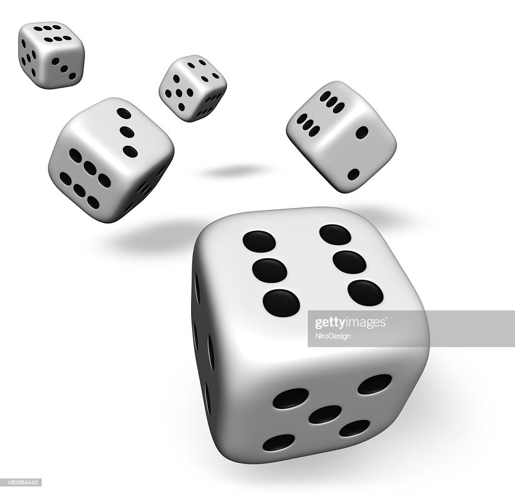 Five Dice Rolling On White : Stock Photo