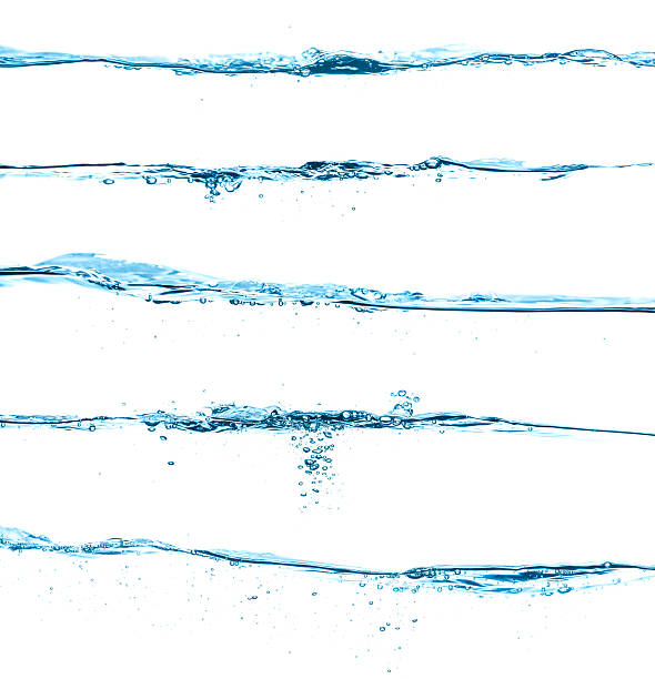 Five Different Blue Water Surfaces Isolated On White Wall Art