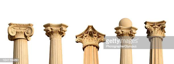 five different columns in a row xxl - classical greek style stock pictures, royalty-free photos & images