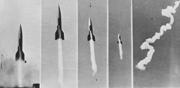 Five different images of the V-2 Bomb in flight. The...