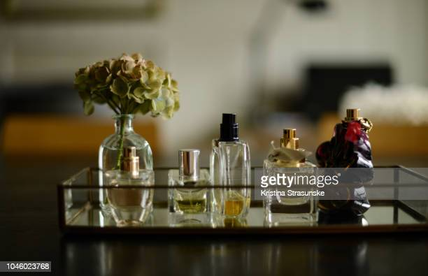 five different perfume bottles and a green hydrangea on a glass tray - kristina strasunske stock photos and pictures