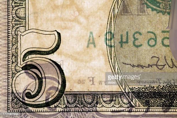 US Five Dollar Bill Backlit Detail