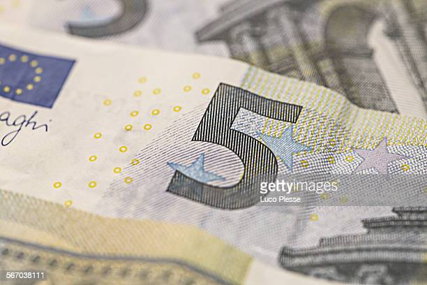 five euros - five euro banknote stock photos and pictures
