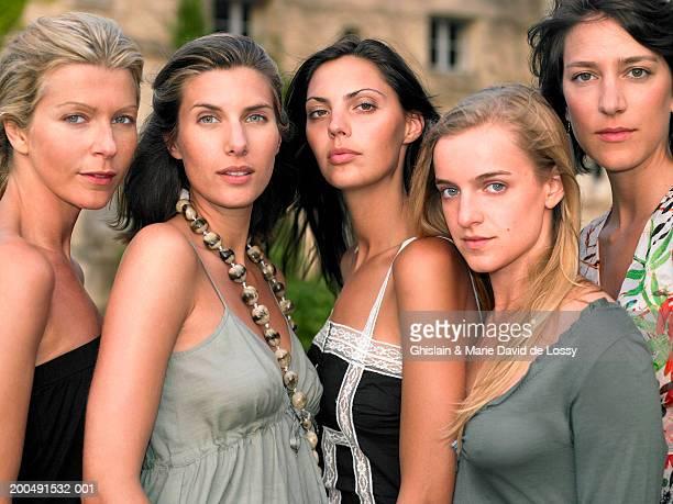 five females, close-up, portrait - saint ferme stock photos and pictures