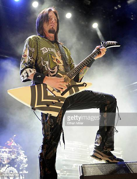 Five Finger Death Punch guitarist Jason Hook performs during the 48 Hours Festival October 15 2011 in Las Vegas Nevada